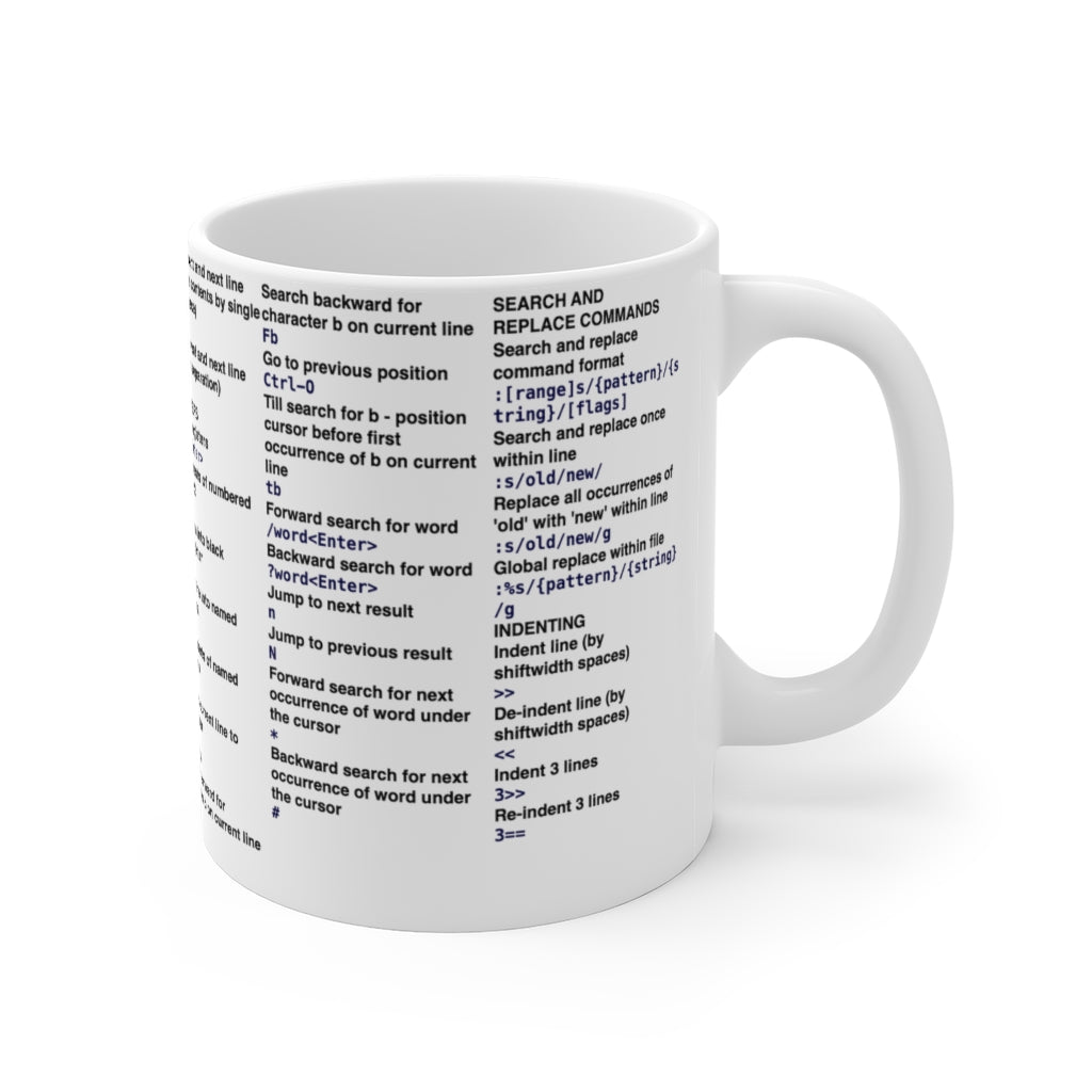 Vim cheat sheet - Mug 11oz - Remember The API