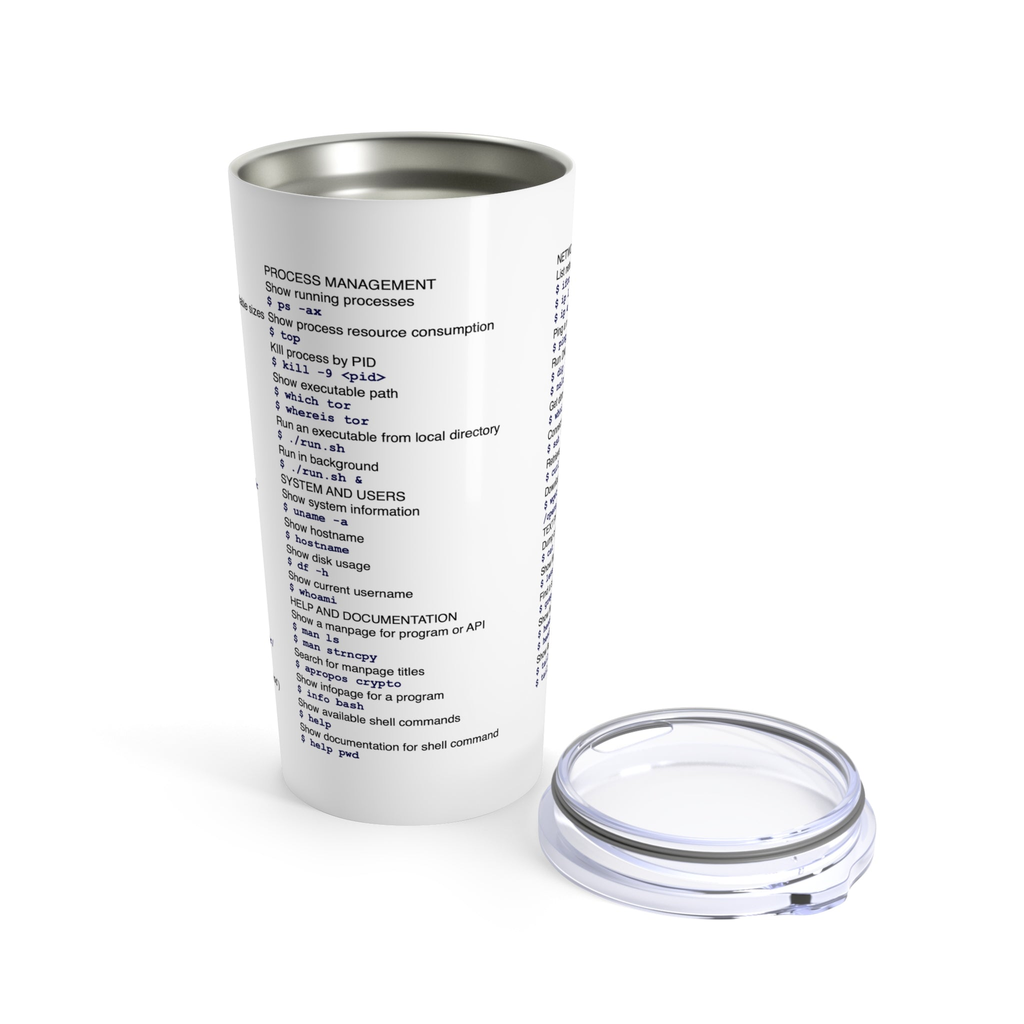 Unix/Linux command cheat sheet - Tumbler 20oz - Remember The API