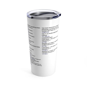Regex cheat sheet - Tumbler 20oz - Remember The API