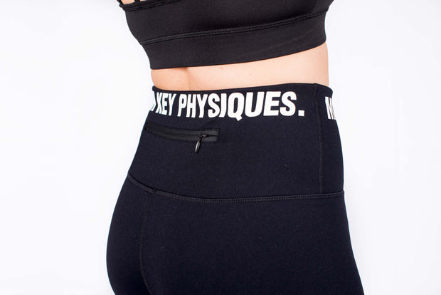 MKP Women's Performance Leggings - White on Black | Major Key Physiques | Australia Workout Wear