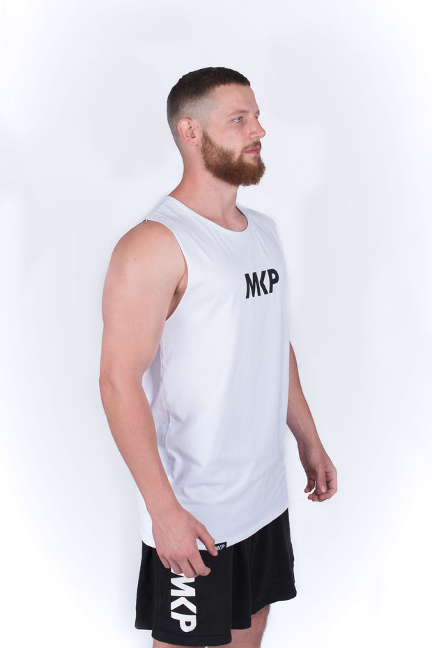 MKP Tank Top - Black on White | Major Key Physiques | Australia Workout Wear