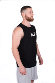 MKP Tank Top - White on Black | Major Key Physiques | Australia Workout Wear
