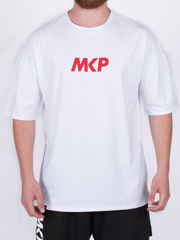 MKP Oversized Tee - Red on White | Major Key Physiques | Australia Workout Wear