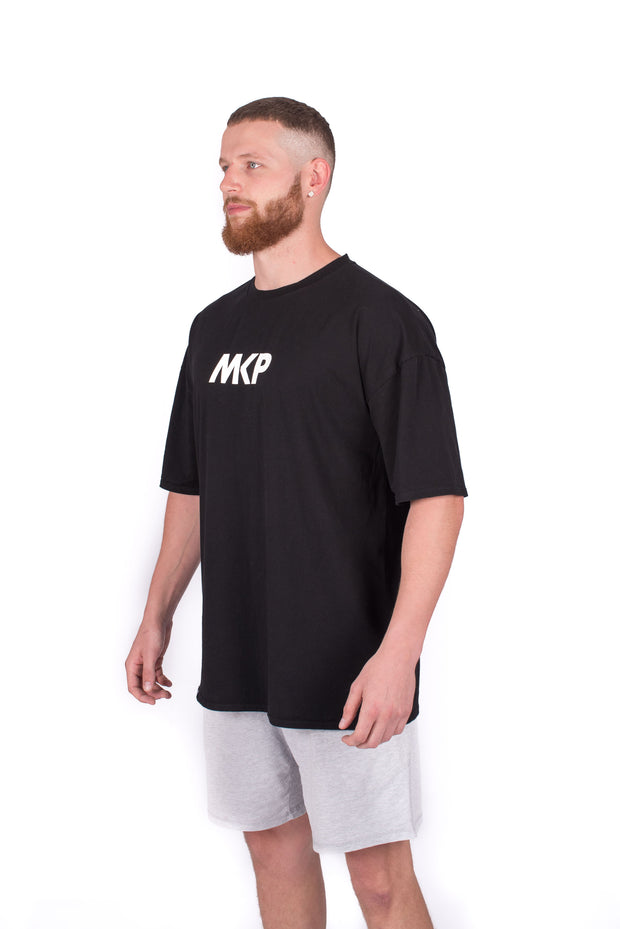 MKP Oversized Tee - White on Black | Major Key Physiques | Australia Workout Wear