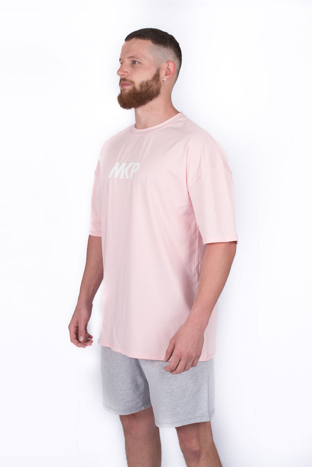 MKP Oversized Tee - White on Pink | Major Key Physiques | Australia Workout Wear