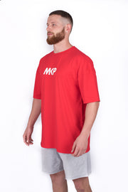 MKP Oversized Tee - White on Red | Major Key Physiques | Australia Workout Wear