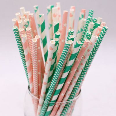Blue and Pink Striped Paper Drinking Straws Wholesale Bulk