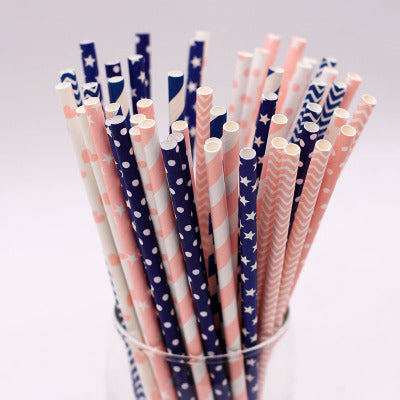 Pink and Blue Striped Paper Drinking Straws Wholesale Bulk