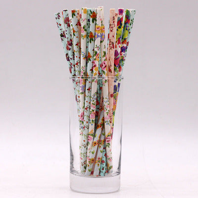 Eco-Friendly Birthday Party Supplies Floral Paper Straws
