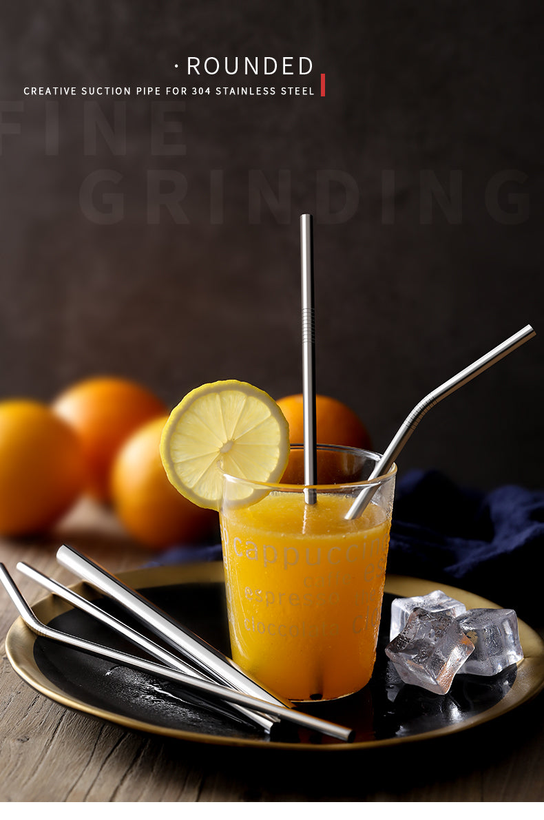 304 Stainless Steel Straws with Orange Juice