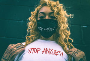 Stop anxiety red on white