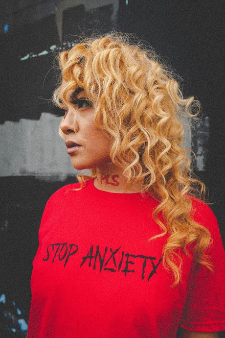 Stop Anxiety (black on red)