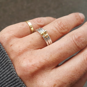 Dot ring in silver and 18ct gold