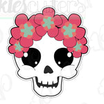 Floral Skull Cookie Cutter - Halloween Cookie Cutter - Periwinkles Cutters LLC