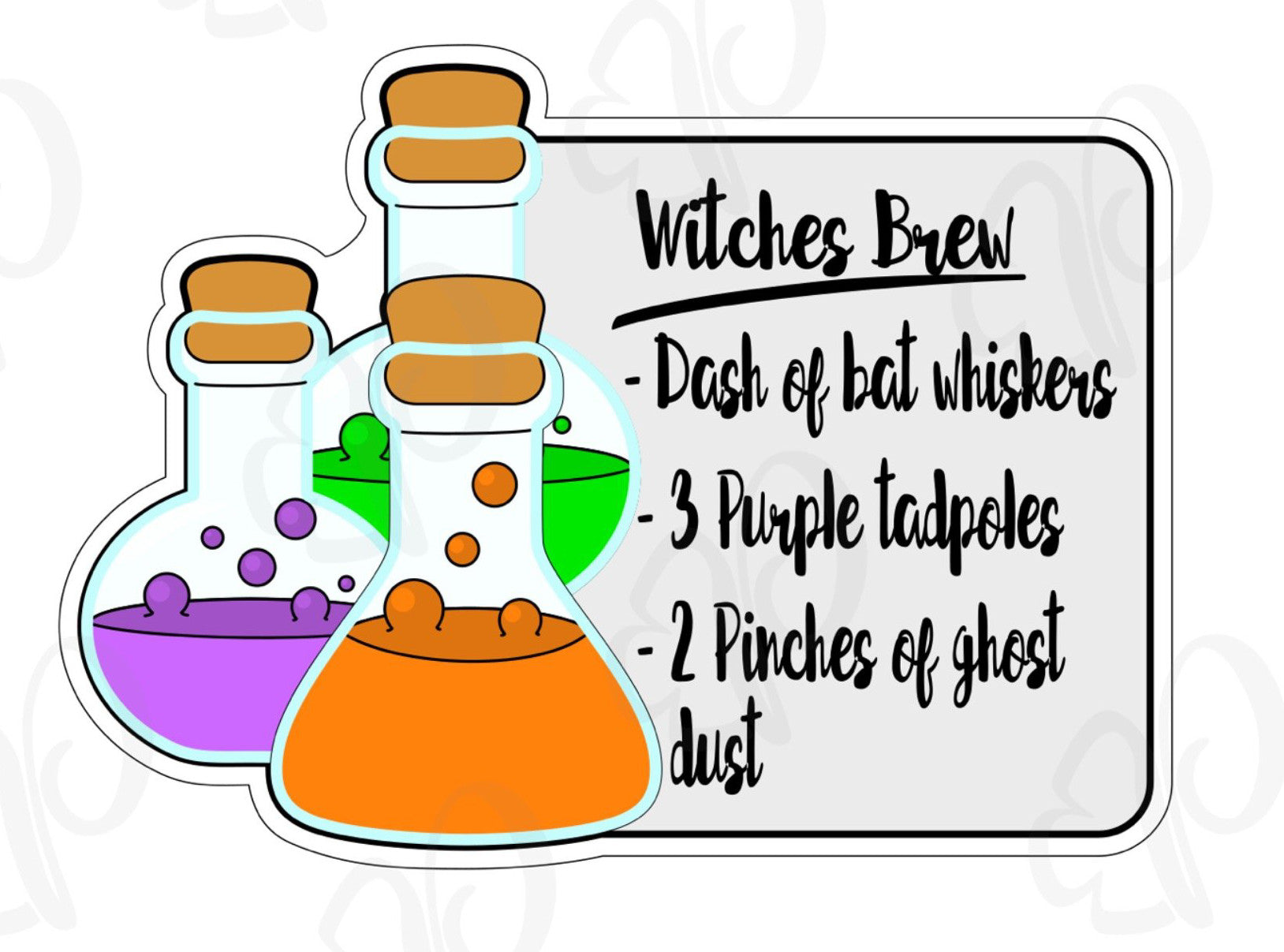 Witches Brew Recipe Plaque Cookie Cutter - Periwinkles Cutters LLC
