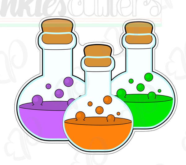 Potion Bottles Cookie Cutter - Periwinkles Cutters LLC