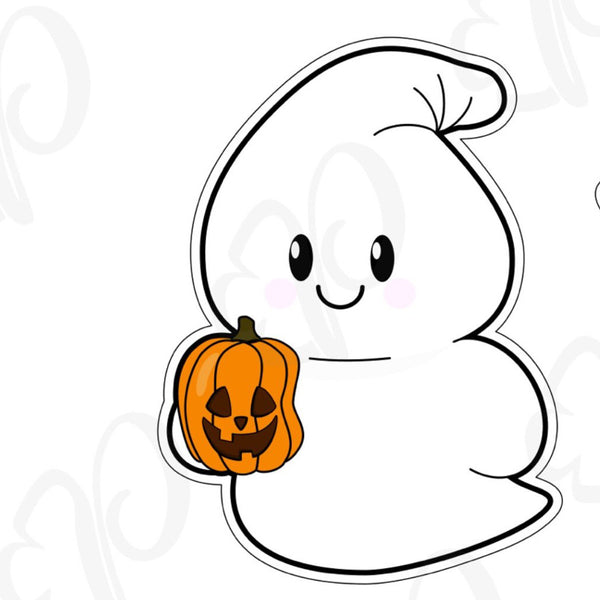 Ghost Holding a Pumpkin Cookie Cutter - Periwinkles Cutters LLC