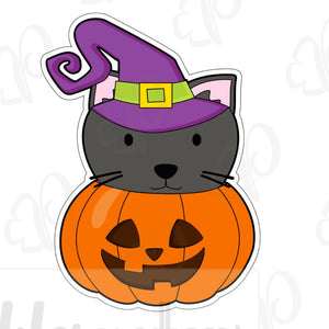 Witch Cat Pumpkin Cookie Cutter - Periwinkles Cutters LLC