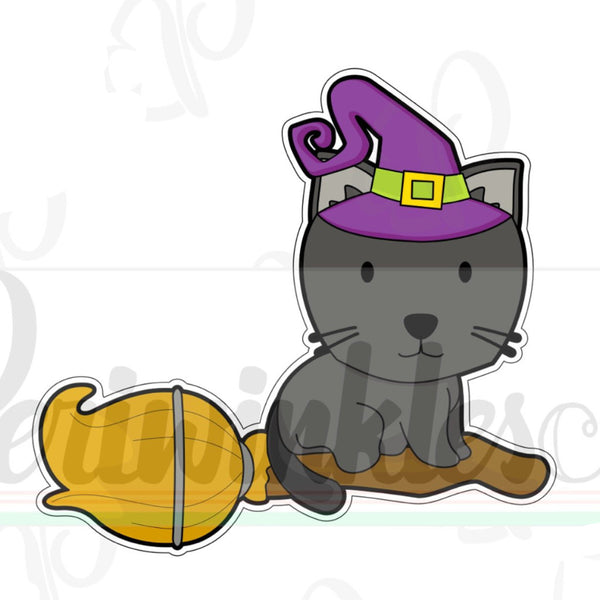 Cat on a Broom Cookie Cutter - Periwinkles Cutters LLC