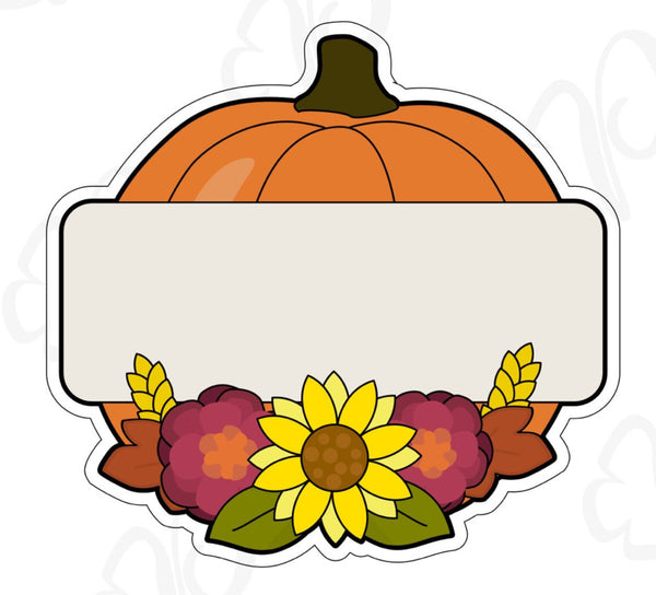 Floral Pumkin Plaque Cookie Cutter - Periwinkles Cutters LLC