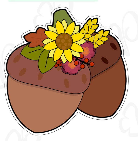 Floral Acorn Cookie Cutter - Periwinkles Cutters LLC