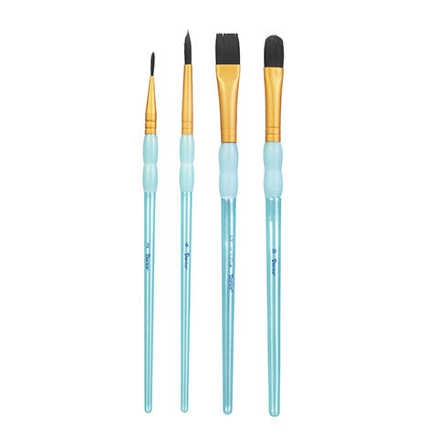 Black Taklon Paintbrush Set of 4 brushes - Periwinkles Cutters LLC