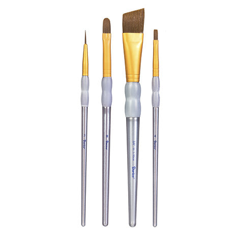 Brown Taklon Paintbrush Set of 4 brushes