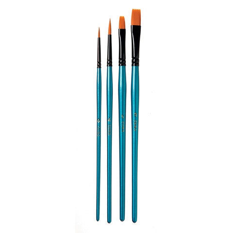 Darice Brush Set - Short - Flat - #0, #4, #5 And #8 Sizes - Periwinkles Cutters LLC