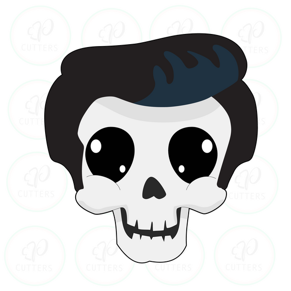 Cool Pompadour Hair Skull Cookie Cutter