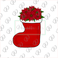 Christmas Floral Stocking Cookie Cutter - Periwinkles Cutters LLC