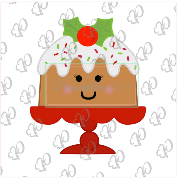 Christmas Bundt Cake on a Stand Cookie Cutter - Periwinkles Cutters LLC