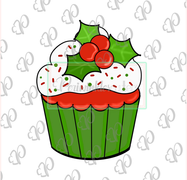 Christmas Cupcake Cookie Cutter - Periwinkles Cutters LLC