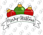 Christmas Ornament Banner Cookie Cutter - Periwinkles Cutters LLC