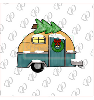 Christmas Camper with Tree Cookie Cutter - Periwinkles Cutters LLC