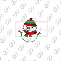 Cozy Happy Snowman Cookie Cutter - Periwinkles Cutters LLC