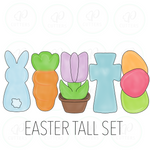 Easter Tall Cookie Cutter - Set of 5 - Bunny-Carrot-Tulip-Cross-Eggs - Periwinkles Cutters LLC