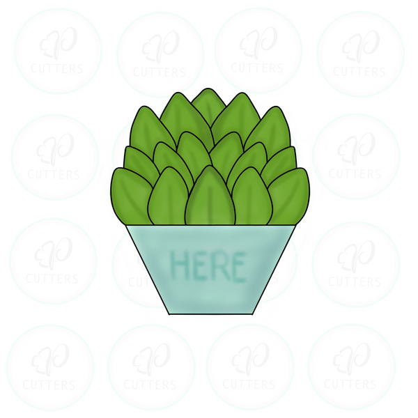 Here Succulent Pot Cookie Cutter - Periwinkles Cutters LLC