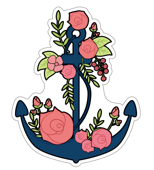 Floral Anchor Cookie Cutter - Nautical Anchor Cookie Cutter