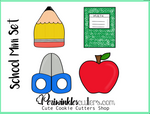 School Mini 4 Cookie Cutter Set - Pencil - Notebook - Scissors - Apple