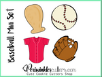 Baseball Mini Cookie Cutter Set of 4 - Periwinkles Cutters LLC