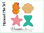 Mermaid Mini 4 Cookie Cutter Set - Mermaid Tail - Seahorse - Starfish - Seashell