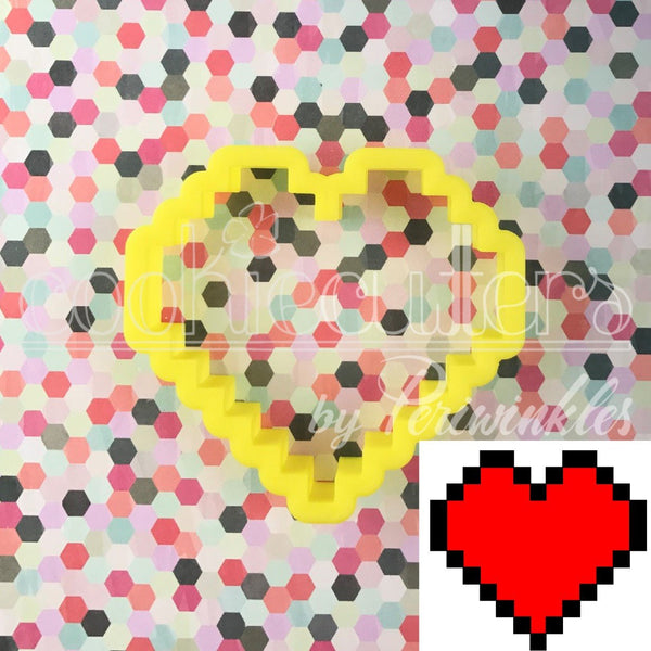 32 Bit Heart - Pixel Heart Cookie Cutter - Periwinkles Cutters LLC