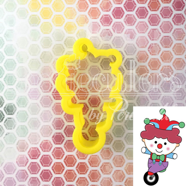 Unicycle Clown Cookie Cutter - Periwinkles Cutters LLC
