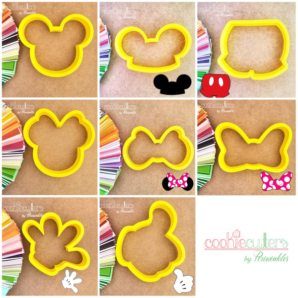 Minnie and Mickey Mouse Cookie Cutter - Mickey Head - Minnie Head - Mickey Ears - Minnie Ears - Minnie Bow - Mickey Glove - Thumbs Up