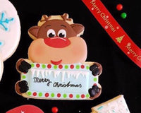 Rudolph Plaque Cookie Cutter - Deer Plaque - Periwinkles Cutters LLC