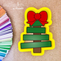 Wood Plank Christmas tree with Bow Cookie Cutter - Periwinkles Cutters LLC