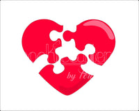 3 Piece Heart Puzzle Cookie Cutter - Periwinkles Cutters LLC