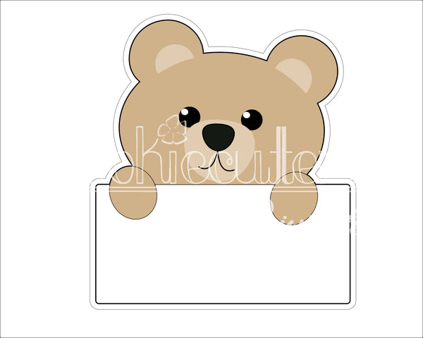 Bear Plaque Cookie Cutter - Periwinkles Cutters LLC