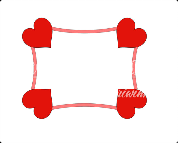 Card Hearts Frame Cookie Cutter - Periwinkles Cutters LLC