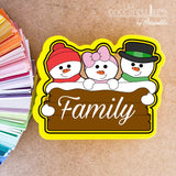 Snowman Family Plaque Cookie Cutter - Periwinkles Cutters LLC